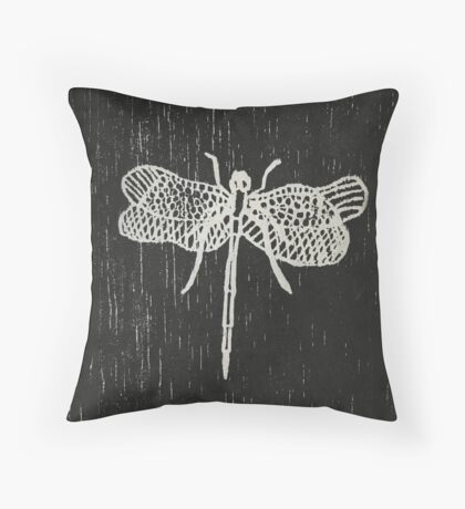 Dragonfly Print Throw Pillow
