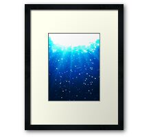 Deep Water Bubbles Dark Blue Color Illuminated By Rays Of Light Framed Print