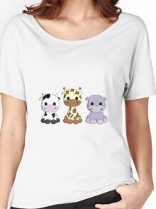 Cute baby cow giraffe hippo cartoons Women's Relaxed Fit T-Shirt