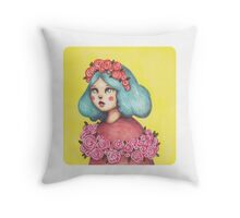 Adorned - Girl with Floral Crown Throw Pillow