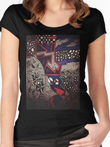 Black, Blue & Red Patterns Women's Fitted Scoop T-Shirt