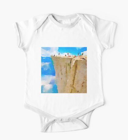 water color,blue,brown,white,nature collars.Prekestolen Norway, abstract landscape, hand painted, beautiful,modern,trendy One Piece - Short Sleeve