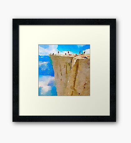 water color,blue,brown,white,nature collars.Prekestolen Norway, abstract landscape, hand painted, beautiful,modern,trendy Framed Print