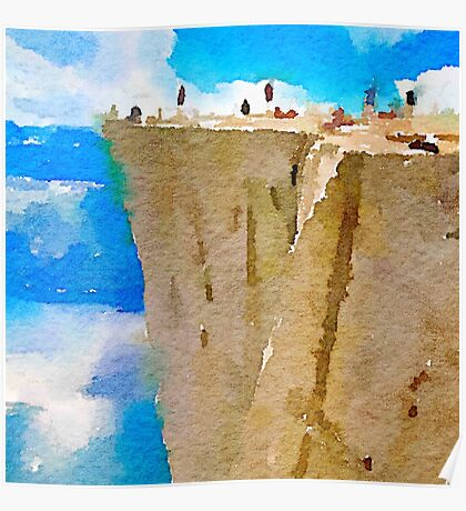water color,blue,brown,white,nature collars.Prekestolen Norway, abstract landscape, hand painted, beautiful,modern,trendy Poster