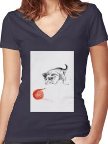 Cat and wool cats poster, sumi-e art print Women's Fitted V-Neck T-Shirt