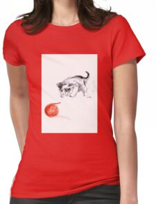 Cat and wool cats poster, sumi-e art print Womens Fitted T-Shirt