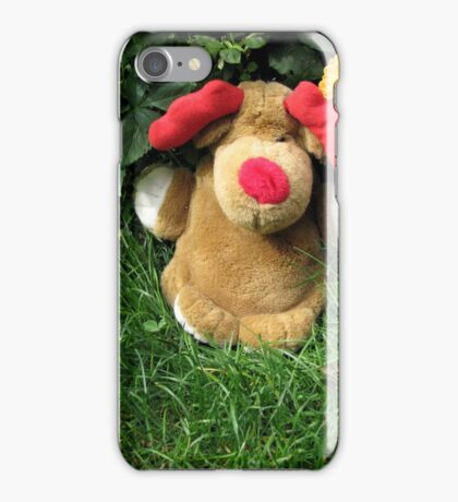 Pooch (our doorstop) in Our Garden in Romania iPhone Case/Skin