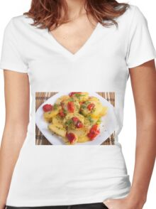 Vegetarian dish with organic vegetables Women's Fitted V-Neck T-Shirt