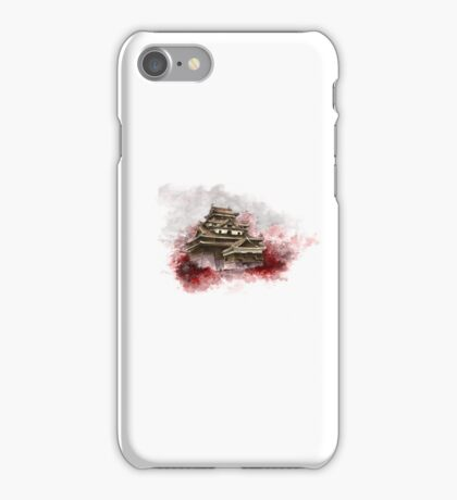 Japanese castle sumi-e painting, japanese art print for sale iPhone Case/Skin