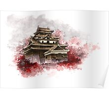 Japanese castle sumi-e painting, japanese art print for sale Poster