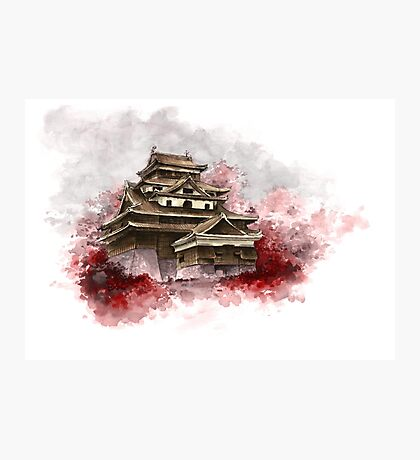 Japanese castle sumi-e painting, japanese art print for sale Photographic Print