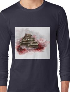 Japanese castle sumi-e painting, japanese art print for sale Long Sleeve T-Shirt