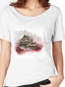 Japanese castle sumi-e painting, japanese art print for sale Women's Relaxed Fit T-Shirt