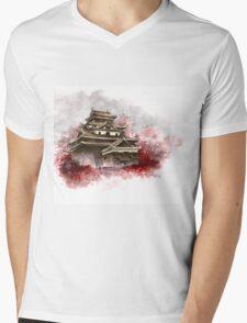 Japanese castle sumi-e painting, japanese art print for sale Mens V-Neck T-Shirt