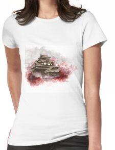 Japanese castle sumi-e painting, japanese art print for sale Womens Fitted T-Shirt