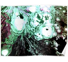 Cellular Abstract Painting Green Black Poster