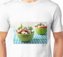 Useful vegetarian food from raw tomatoes, cucumbers and onions Unisex T-Shirt