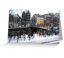 Bikes in the snow at Amsterdam Greeting Card