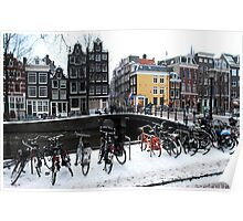 Bikes in the snow at Amsterdam Poster