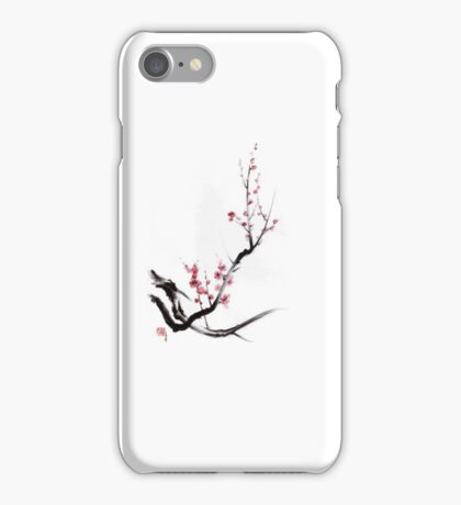 Cherry blossom tree sumi-e painting, sakura art print iPhone Case/Skin