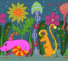 vector fantastic night forest with fabulous animals by Ann-Julia