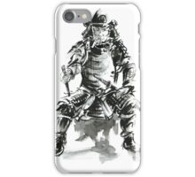 Samurai ink art print, japanese warrior armor poster iPhone Case/Skin