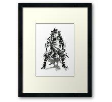 Samurai ink art print, japanese warrior armor poster Framed Print