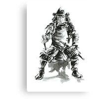 Samurai ink art print, japanese warrior armor poster Canvas Print