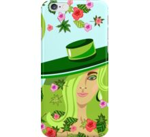 the girl in a hat among a whirlwind of leaves and roses iPhone Case/Skin