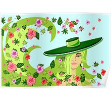 the girl in a hat among a whirlwind of leaves and roses Poster