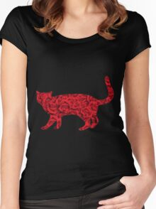 Cat with Roses Women's Fitted Scoop T-Shirt