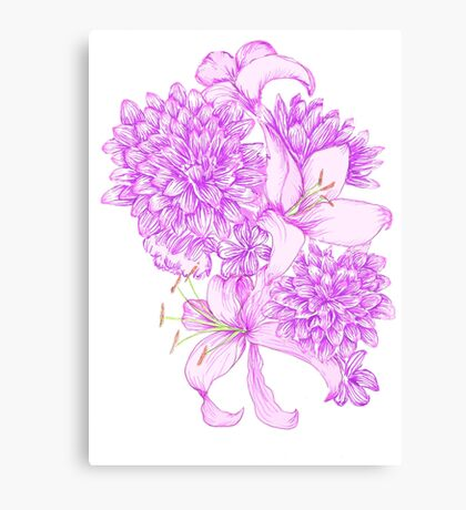 Violet Lilies and Dahlias Canvas Print