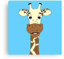 Funny giraffe cartoon on blue background Canvas Print
