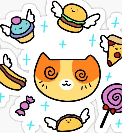 Hypnotized Junk Food Cat Sticker