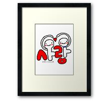 Love 사랑 Korean cartoon hand heart Framed Print