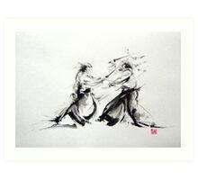 Samurai fight large poster, martial arts art work Art Print