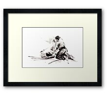 Samurai ink home decor, japanese decorations for home Framed Print