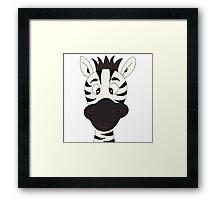 Funny zebra cartoon Framed Print