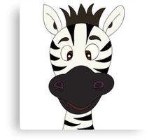 Funny zebra cartoon Canvas Print