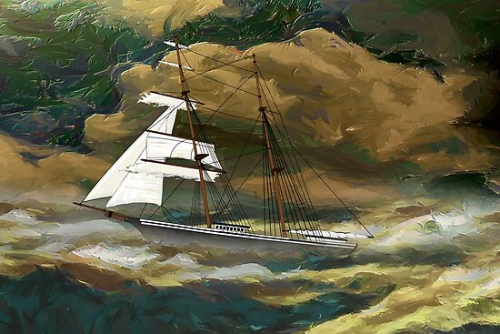 Mary Celeste in the rig she wore when found in 1872 by Dennis Melling