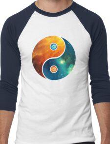 Yin Yang, Space, Cosmos, Galaxy, Universe, Outerspace Men's Baseball ¾ T-Shirt