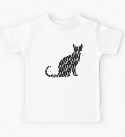 Black Cat with CATS in white Kids Tee