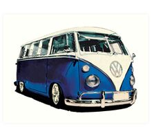 VW Bus Cool Blue Art Print