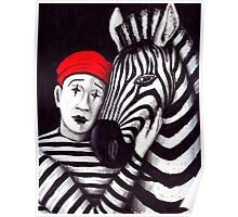 Zebra and Mime pen, ink, and colored pencils drawing Poster