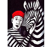 Zebra and Mime pen, ink, and colored pencils drawing Photographic Print