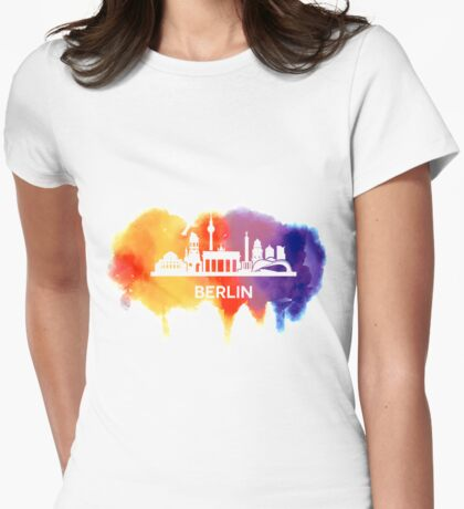 Berlin Skyline Watercolor Womens Fitted T-Shirt