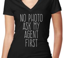 no photo ask my agent Women's Fitted V-Neck T-Shirt