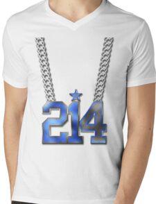 214 Bling On A Chain (Blue 21/White 4) Mens V-Neck T-Shirt