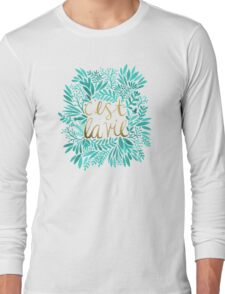 That's Life – Turquoise & Gold Long Sleeve T-Shirt