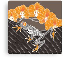 Tree Frog with Orchids in Earth Tones Canvas Print